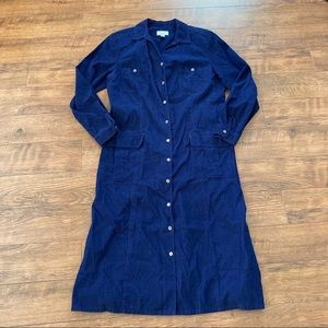 Talbots Size 16 Shirt Dress Button Up Plus Blue